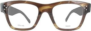 Celine Rectangular Eyeglasses CL41428 07B Size: 49mm Havana Brown 41428