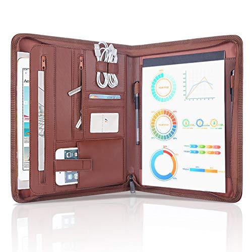 OOWOLF Portfolio Binder Zippered Padfolio,Interview Resume Document Organizer Leather Travel Conference Folder Executive Business Padfolio Case with Writing Pad Tablet, Phone/iPad Pockets.