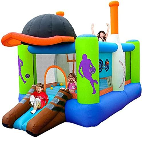 FYHpet Casa Inflable de Rebote con soplador, niños Saltando el Castillo con Bola del océano de Diapositiva, Anillo de Baloncesto y Piscina de Salpicaduras |