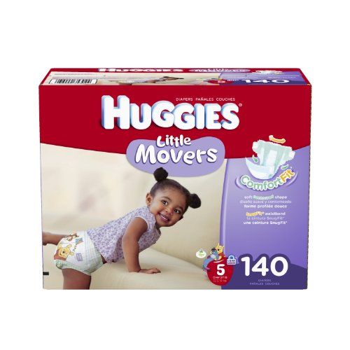Price comparison product image Huggies Little Movers Diapers Economy Plus,  Size 5,  140 Count (packaging may vary)