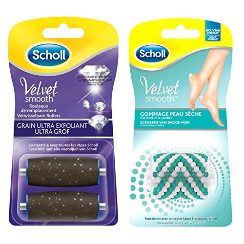 Scholl - Rodillos de repuesto para Rallador eléctrico de pies exfoliante Velvet Smooth – Anticallos – Lote de 3 (2 rodillos extra exfoliantes + 1 rodillo de goma