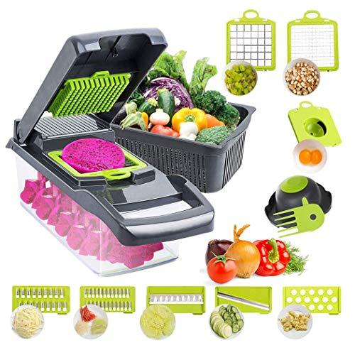 Rallador de verduras 12 en 1 mandolina picadora de verduras con 8 cuchillas, utilizado como cebolla, ensalada de frutas, patatas en cubitos y rodaja de zanahoria