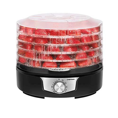 Chefman | Deshidratador de Alimentos Redondo de 5 Bandejas | Fácil de usar | Flujo de aire uniforme y constante