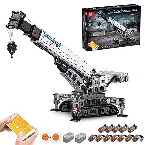 Technik Liebherr 11200 Kran mit 12 Motor, Mould King 17002, 4000 Teile, Technik Ferngesteuert Raupenkran LKW-Kran Kompatibel mit Lego