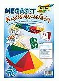 folia 10030 - Megaset Kartenbasteln, 80 Teile, mit 40 Kuverts und 40 Blatt Tonkarton sortiert in 10 Farben