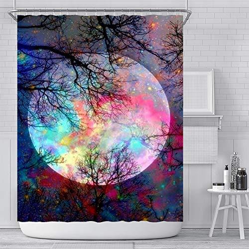 Ujoyen Fantasy Moonlight Forest Shower Curtain Galaxy Full Moon Shower Curtains Night Forest Scenery Bathroom Decor Set with Hooks Waterproof Washable 72 x 72 inches-Black