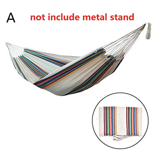 iFlymisi Double Canvas Striped Hammock Lazy daze Hammock Lounge Chair, Outdoor Hanging Swing Hammock Garden Patio (without Metal Frame Stand)