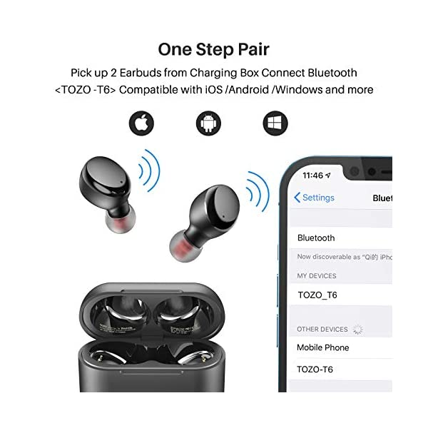 TOZO T6 True Wireless Earbuds Bluetooth Headphones Touch Control with Wireless Charging Case IPX8 Waterproof Stereo…