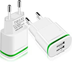HISUNG Europe Wall Charger, 2Pack 2.1A 5V Universal LED Dual USB European Travel Charger Power Adapter Charging Plug for iPhone 7/6/5S,Ipad, Samsung Galaxy S8 Plus S7/S6 Edge, HTC, LG, More Cellphone