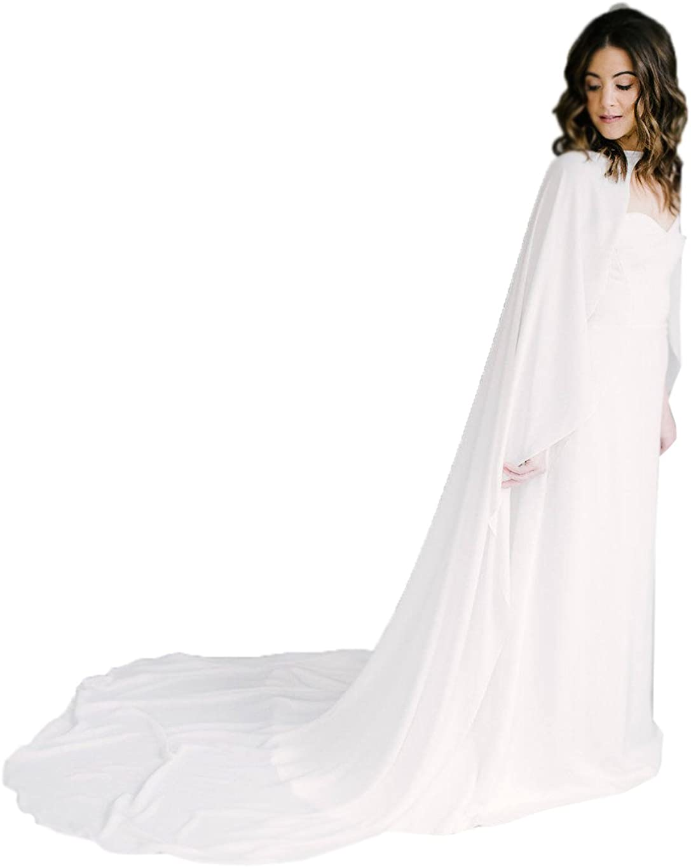 yeoyaw Women Lace Appliques Cathedral Length Wedding Long Cloak Bridal Cape