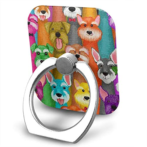 Colorful Oil Cute Schnauzer Dogs Phone Finger Ring 360 Degree Rotation Foldable Set Compatible with Most of Smartphones Tablet and Case Sold