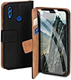 moex Handyhülle für Huawei Honor 8X - Hülle mit Kartenfach, Geldfach & Ständer, Klapphülle, PU Leder Book Hülle & Schutzfolie - Schwarz