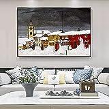 KBIASD Pintura en Lienzo Hermoso Invierno Paisaje de la Ciudad Cubierta de Nieve Carteles e Impresiones Pinturas en Lienzo Imágenes artísticas de Pared Decoración para Sala de estar-50x70cm Sin Marco