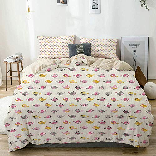 Duvet Cover Set Beige,Baby Cartoon Birds Funny Animal Print, Decorative 3 Piece Bedding Set with 2 Pillow Shams