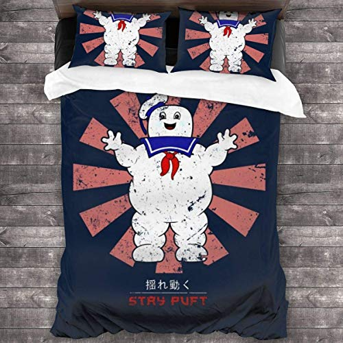 Knncch Stay Puft Retro Japanese Ghostbusters 3 Pieces Bedding Set Duvet Cover Decorative 3 Piece Bedding Set with 2 Pillow Shams