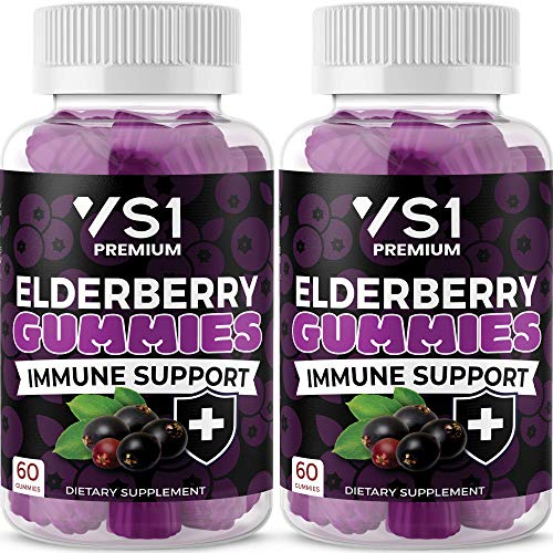 (2-Pack) Organic Elderberry Gummies by VS1 for Adults Kids with Vitamin C, Zinc, Propolis - Sambucus Black Elderberry Gummy Extract - Gluten Free & Vegetarian - 120 Gummies