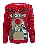 Fashion Essentials-womens Unisex Rudolph Print 3d Nose Pom Pom Christmas Jumper (XXL, RED)