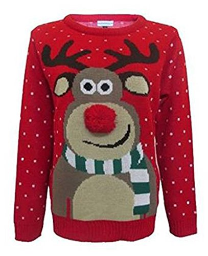 Fashion Essentials-womens Unisex Rudolph Print 3d Nose Pom Pom Christmas Jumper (L, RED)