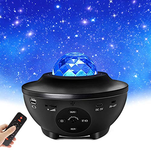 LED Sternenhimmel Projektor, Starry Projector Light, Galaxy Light mit Wasserwellen und Bluetooth-Lautsprecher für Kinder Erwachsene Party und Geschenke