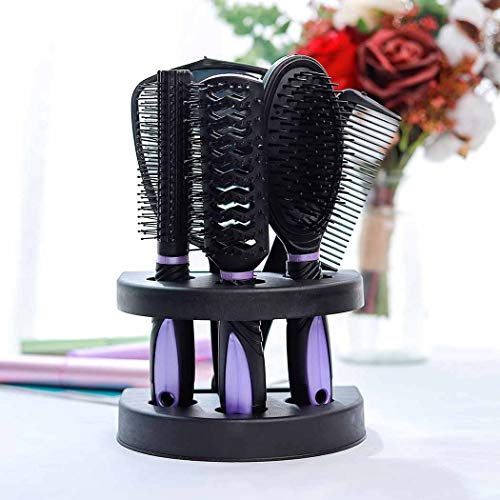 Zoestar 5Pcs Hair Brush and Comb Set for Women and Men (Purple)