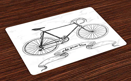 Lunarable Bicycle Place Mats Set of 4, Ride Your Bike Lettering with Nostalgic Mountain Bike Hand Drawn Sketchy, Washable Fabric Placemats for Dining Table, Standard Size, Charcoal Grey