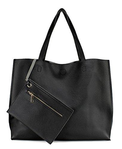 Scarleton Stylish Reversible Tote Handbag for Women, Vegan Leather Shoulder Bag, Hobo bag, Satchel Purse, Black/Grey, H18420103