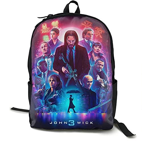 YvetteECissie Jo_Hn Poster Wi_Ck - Mochila de viaje para ordenador portátil al aire libre, mochila escolar para adultos o niños