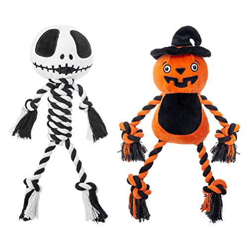 PAWCHIE Halloween Dog Squeaky Chew Toys – Pumpkin and Skull Dog Rope Toys, Pet Soft Plush Toys for Small Medium Large Dogs, 2 Pack
