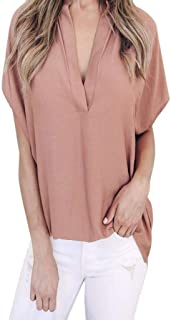 Dubocu Women T-Shirt Chiffon Solid Short Sleeve V Neck Summer Loose Casual Shirt Basic Tops Blouse Pullover
