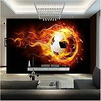 Xbwy 装飾壁画モダンファンタジー壁紙壁画子供部屋ソファー背景壁紙サッカーオンファイアウォール壁画-400X280Cm