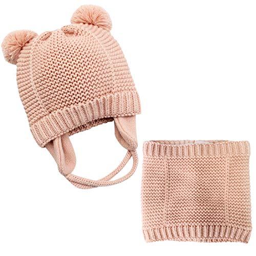 Tuopuda – Gorro para bebé con pompón grande de pelo pompón gorro de punto para niños de un solo color de invierno con bufanda, unisex, gorro de punto y pañuelo para el cuello Rosa. S