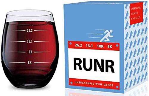lowest Stemless Wine Glass for Runners high quality (5K, 10K, 13.1, 26.2 Measurements) Made of Unbreakable 2021 Tritan Plastic and Dishwasher Safe - 16 ounces outlet sale