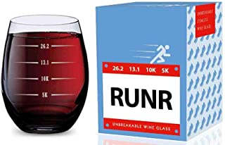 Stemless Wine Glass for Runners (5K, 10K, 13.1, 26.2 Measurements) Made of Unbreakable Tritan Plastic and Dishwasher Safe...