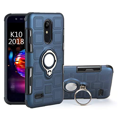 QiongNi Hülle für LG K10 2018 / LMX410EO K Series K11 2018 / K11 Prime 2018 / LMX410FT K Serie K11 Alpha / K11 Plus/K Serie K11+ 2018 Case Cover + 360 Grad drehbarer Ringhalter Kickstand, blau