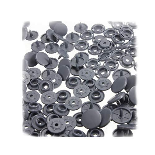 Ndier 100 piezas Snaps T8 plástico Poppers Snap Fasteners Botones para bricolaje ropa accesorios gris papelería y productos para oficina