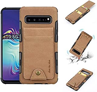 Wallets Durable Canvas Fabric Vertical Flip Case, Smartphone Back Cover with Dual Card Slots for Samsung Galaxy S10 5G Phone Case Shockproof (Color : Khaki)