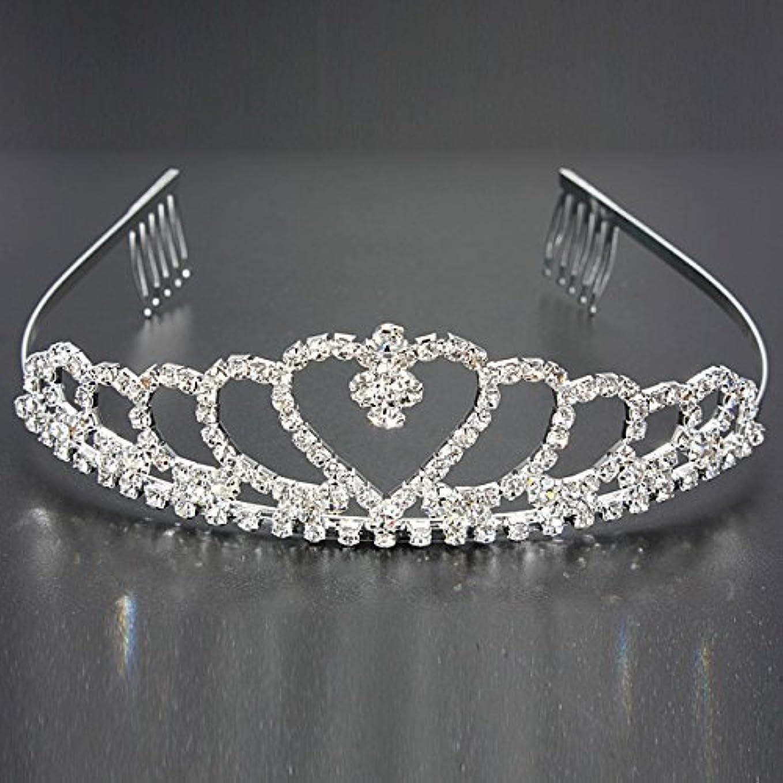 敵意リングバック飢えYZUEYT 結婚式の花嫁のクリスタルのラインストーンハート型クラウンの髪ティアラ YZUEYT (Size : One size)