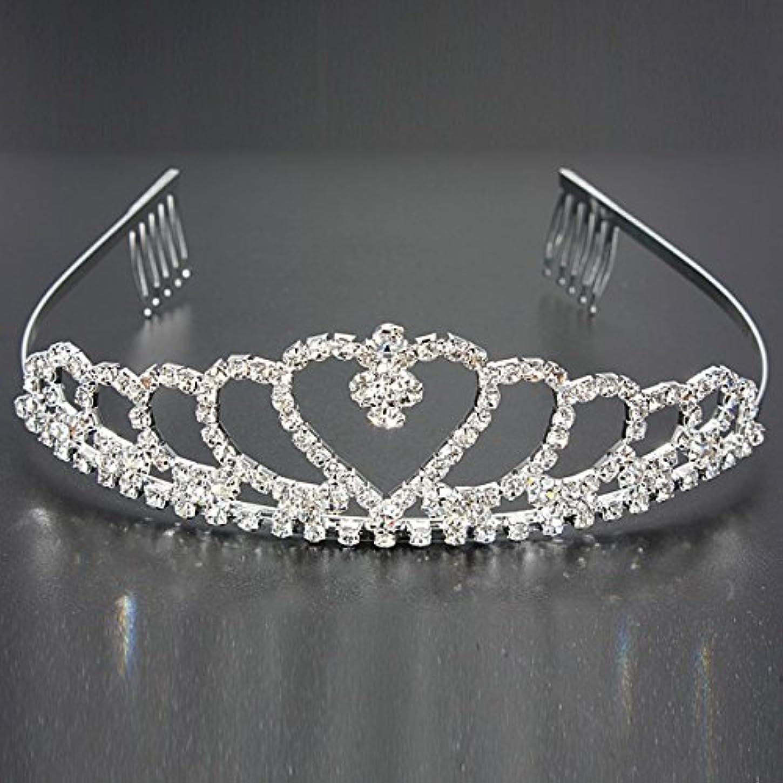 石化するバラバラにする着実にYZUEYT 結婚式の花嫁のクリスタルのラインストーンハート型クラウンの髪ティアラ YZUEYT (Size : One size)