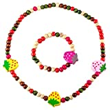 Kids Girls Wooden Strawberry Stretch Colorful Bead Necklace Bracelet Set Accesorries for Costume Play Toddlers Children