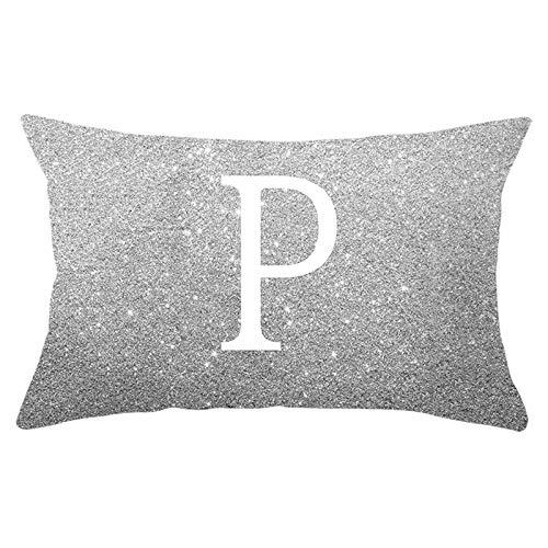 Ukilook Fundas de almohada de poliéster con 12 letras en inglés P rectángulo funda de cojín funda de almohada decorativa solamente, sin relleno para sofá, decoración del hogar, moderna 30 x 50