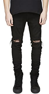 LONGBIDA Men's Ripped Slim Fit Skinny Destroyed Distressed Tapered Leg Jeans