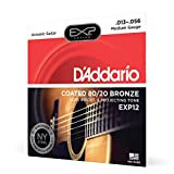 D'Addario EXP12 with NY Steel 80/20 Bronze Acoustic Guitar Strings, Coated Medium, 13-56