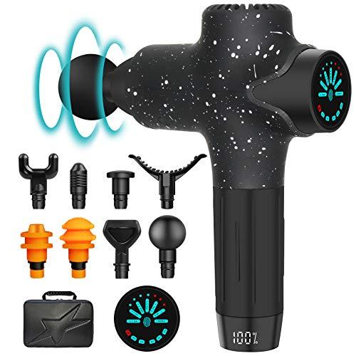 Massagepistole Massage Gun mit 7 Geschwindigkeiten 8 Massageköpfen LED Anzeige Touchscreen Elektrisch Massage Pistole, Schmerzlinderung für Nacken Schulter Rücken, Muskelermüdung zu Entlasten