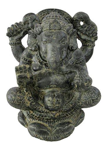 STONE art & more Ganesha, sitzend, 40 cm, schwarz antik, Hohlguss, Steinfigur, Steinguss, frostfest