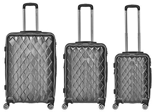 Packenger Kofferset - Atlantic - 3-teilig (M, L & XL), Anthrazit, 4 Rollen, Koffer mit TSA- Schloss und Erweiterungsfach, Hartschalenkoffer (Polycarbonat), glänzend