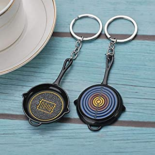 Baker Store Game PUBG Keychain Cosplay Prop Metal Accessories Pan Backpack Level 3 Key Ring PUBG Helmet K98 Key Chain (Frying pan)