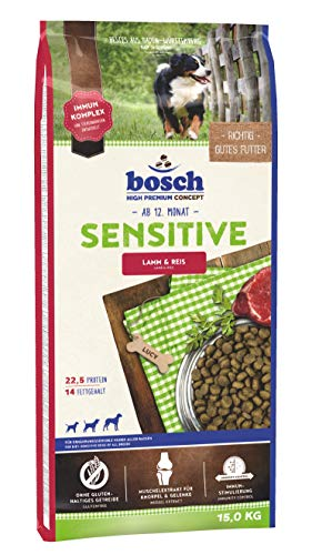 Bosch HPC Sensitive Agnello e Riso Cibo per Cani, 15000 g