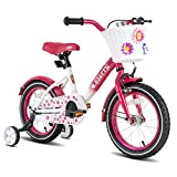 JOYSTAR 14 Inch Kids Bike with Hand Brake for 3 4 5 Years Girls,14 Inch Toddler Bike with Training Wheels for Child, Pink Children Bicycle