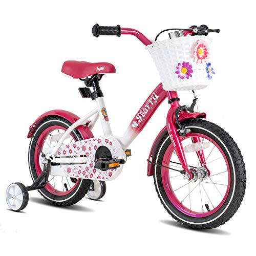JOYSTAR 18 Inch Kids Bike with Hand Brake and Basket for 5 6 7 8 9 Years Girls, 18' Youth Bike with Training Wheels and fenders, Fuchsia