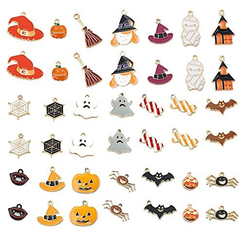Humidifier 42 Pcs Joyería Encantos De Halloween Spiders Spiders Bruja Candy Colgante DIY para Pendientes Collar Pulsera Joyas Juego